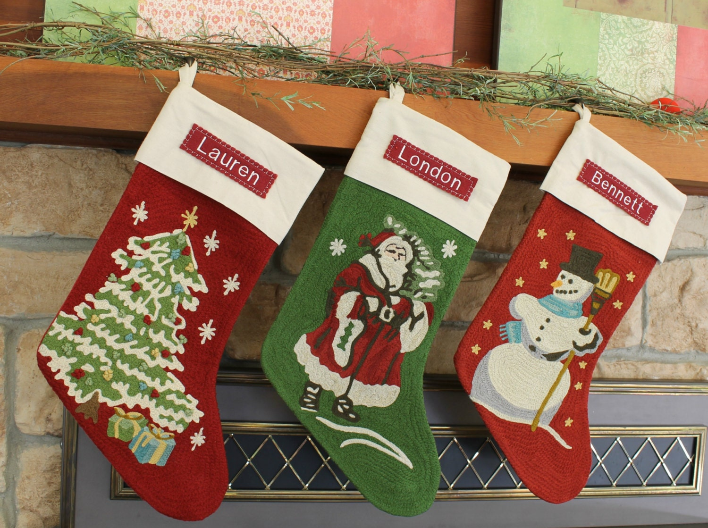 christmas tree crewel stocking pottery barn free monogram. Black Bedroom Furniture Sets. Home Design Ideas