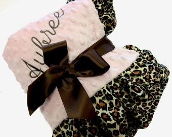 Powder Pink Dot and Swirl Minky Lovey with Leopard Satin Ruffle Trim