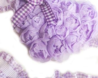 Lavender Rosette Heart Headband with lavender bow, Baby Headband, Newborn Headband Valenitnes Headband, Dress up headband