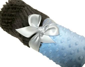 Personalized Baby Blanket Gray Chevron Minky Baby Blanket with Baby Blue Dot Minky Back Standard Size