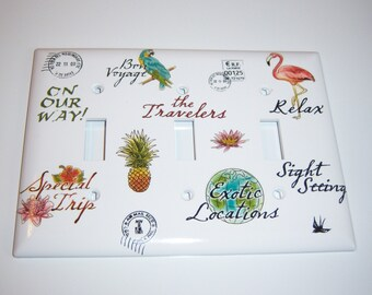 Travel Themed Triple Lightswitch Cover, World Map, Flamingo, Parrot, Pineapple, Passport Stamps