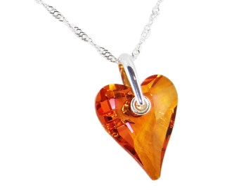 Orange Crystal Astral Pink Wild Heart Crystal on Twisted Silver Chain Necklace