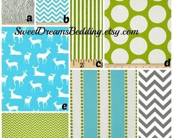 Custom Crib Bedding You Design   Bumper and Bedskirt Deer in Aqua