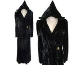 1930s Crinkle Velvet Opera Coat with Pointed Hood