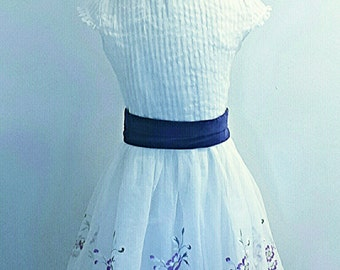 Vintage 1960s Dress - 60s Party Dress - Purple Velvet on White Organza