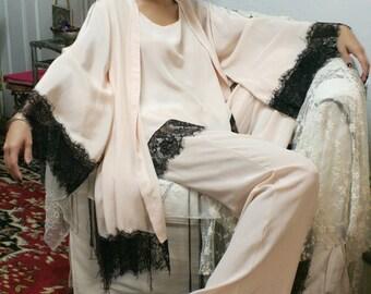 Silk Pajamas and Robe Set Silk Lingerie Silk Sleepwear Pajamas and Robe Sleepwear Bridal Lingerie Art Deco Lingerie