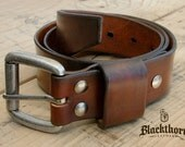 "Men's Leather Belt, Rustic Leather Belt, - Antiqued Brown, 1.5"" wide with solid brass roller buckle"