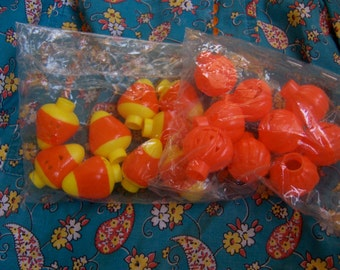 plastic candy corn and pumpkins