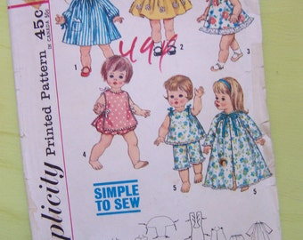 dolls clothes 15 and 18 inch vintage pattern