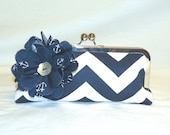 Chevron Clutch with Flower in Navy and White with Anchor Print