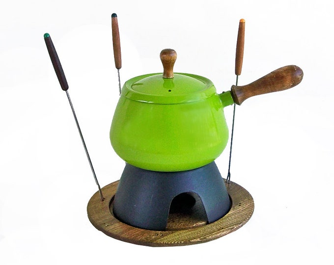 Featured listing image: 1970s Mod Lime Green Porcelain Enamel Fondue Pot With Forks, Retro Fondue Pot