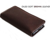 Hand Stitched iPhone Wallet in Soft Oiled BROWN Leather (Free Personalization)