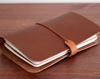 LEATHER COVER for Midori Travelers size - Field notes - Moleskine in Milk Chocolate