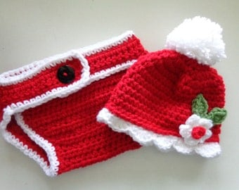 Mrs.Santa Hat/Diaper Cover Set for 0-3month Baby Girl or Reborn Doll
