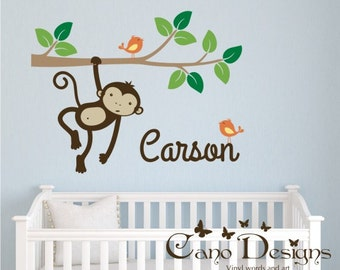 Monkey Swinging on a  Branch with Personalized Name and birds,  Kids Vinyl Wall Decal Sticker Set, nursery, removable wall decal set