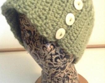 women's Crochet Cap in Fern Green