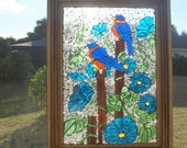 Stained Glass Mosaic Morning Glory Bluebird Repurpose Frame Window