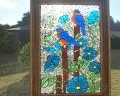 Stained Glass Mosaic Morning Glory Bluebird Repurpose Frame Window