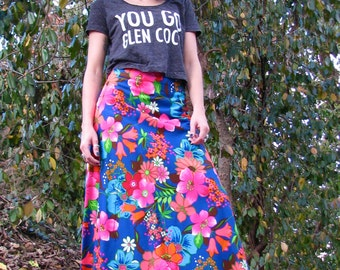 Vintage 1970s Hawaiian Psychedelic FLORAL Bright MAXI Skirt Hostess Hippie