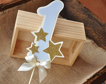 Twinkle Twinkle Little Star Cake Topper.  Handcrafted in 2-3 Business Days.  Pastel Blue Number Cake Topper with Glitter Accent Stars.