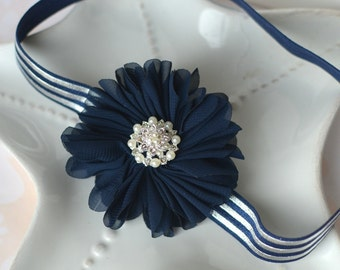 Navy Blue and Silver Flower Headband- Elegant, Classy Accessory for Holidays or Everyday