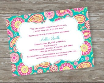 "Baby Shower invitations - Digital file  ""Paisley  Baby"" Pink & Teal design"