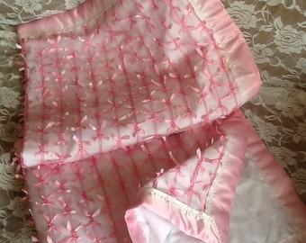 Pink fancy bow Baby Blanket