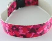 Hemp Dog Collar - Pink Camouflage - 3/4in