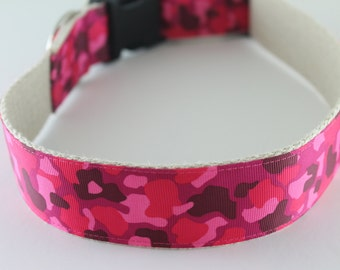 Pink Camouflage extra large hemp dog collar