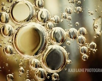 Abstract Bubbles Gold and Silver -  Fine Art Photography Print, Abstract Art, Abstract Photography, Oil and Water Photography, Art