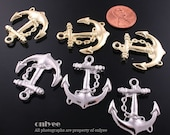 40pcs-27mmX32mmGold, Rhodium plated zinc alloy Anchor pendant, connector, charm(K478)