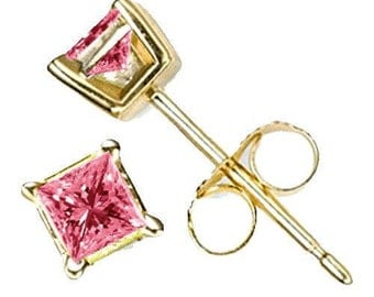 pink diamonds earrings 14k gold