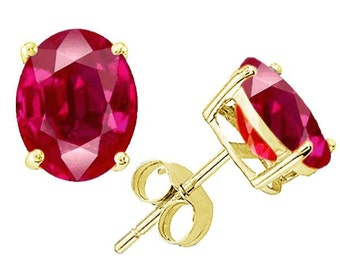 ruby earrings  14k yellow gold