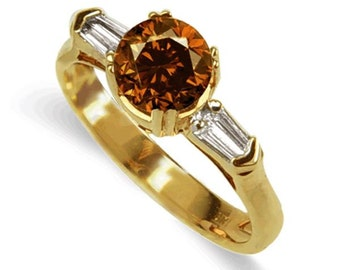 cognac diamond ring  18k yellow gold