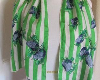 Lovely Green White Stripe ECHO Silk Scarf - 15 x 44 Long