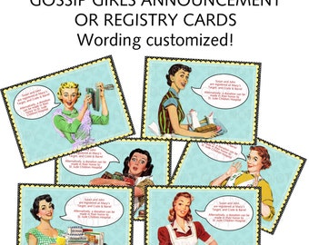 Printable 1950's Retro Housewife Gossip Girls Bridal Shower Game Cards - PERSONALIZED Set of 6 designs
