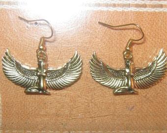 Gold Brass Tone Egyptian Goddess Isis Dangle Earrings