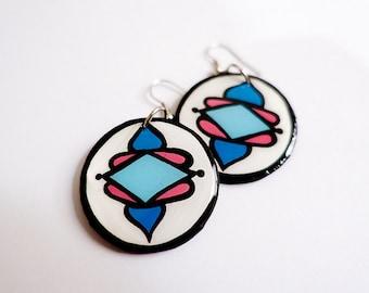 Modern, Small Southwestern Flower Blossom Earrings in Turquoise