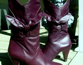 Vintage Deep Cranberry or Plum High Heel Leather Boots with Big Bows - Size 8 1/2 M