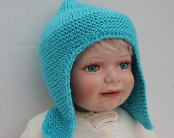 Clearance.Hand Knit Baby Boy Ear flap Hat, Teal Baby Boy Knit Hat, Blue Baby Hat