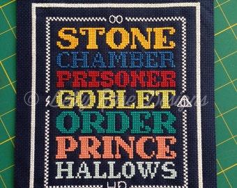 Harry Potter Book Title Cross Stitch Pattern