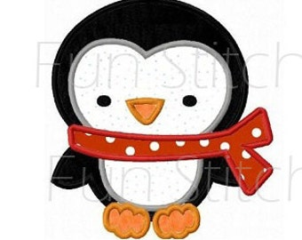 Penguin applique machine embroidery design