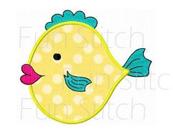 fishy fish applique machine embroidery design instant download