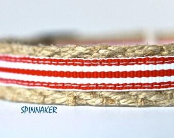 "Red Stripe Dog Collar, Preppy Dog Collar, 5/8"" wide Dog Collar, Adjustable Collar, Teacup Collar"