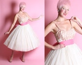 DREAMY 1950's New Look Sheer Chiffon Over Satin Party Dress w/ Embroidered Flowers Covered Shelf Bust w/ Rhinestones & Long Sash Tie Belt