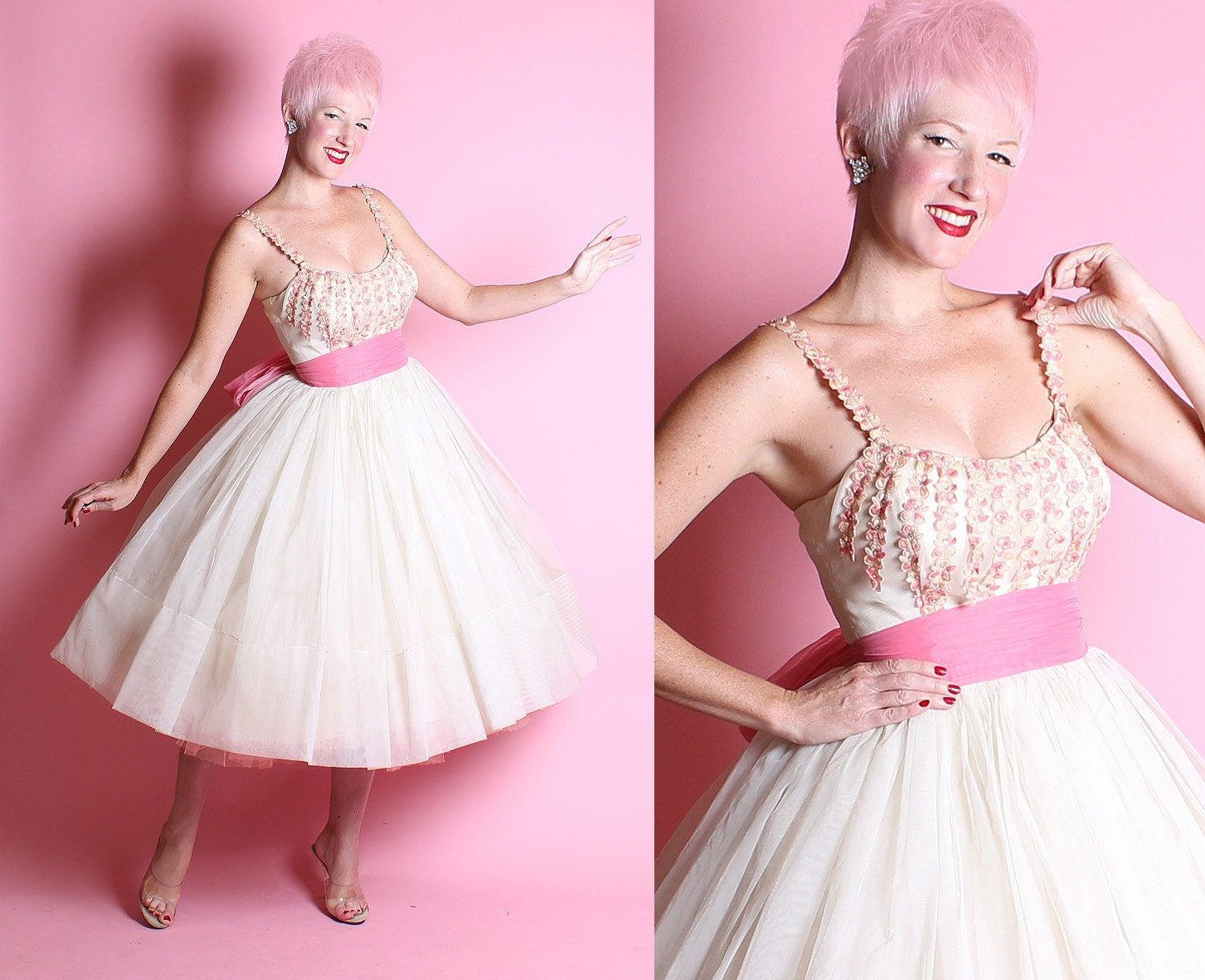 RESERVED 1950's New Look Sheer Chiffon Over Satin Party Dress w/ Embroidered Flowers Covered Shelf Bust w/ Rhinestones & Long Sash Tie Belt