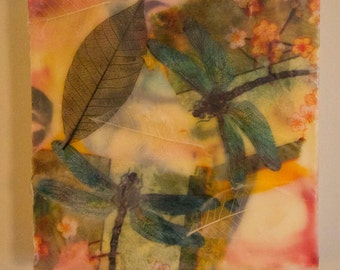 Dragonflies-encaustic painting