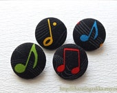 Fabric Covered Buttons (M) - Chic Colorful Musical Music Notes On Black (4Pcs, 0.87 Inch)