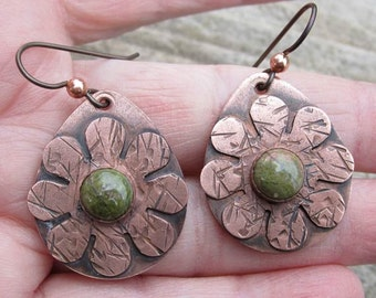 Native American Inspired Unakite Copper Earrings