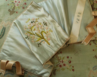 Antique silk fabulous keeper case ribbonwork embroider 1890s satin hand embroidered flowers
